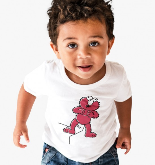 T-shirt pour Enfants Elmo Sésame Street de couleur Blanc