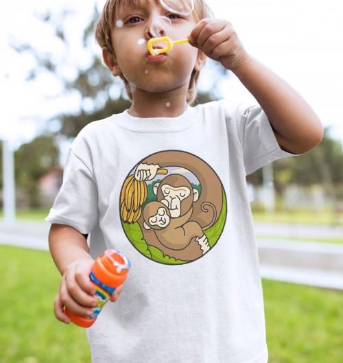 T-shirt pour Enfants Chimpanzé (enfant) de couleur Blanc