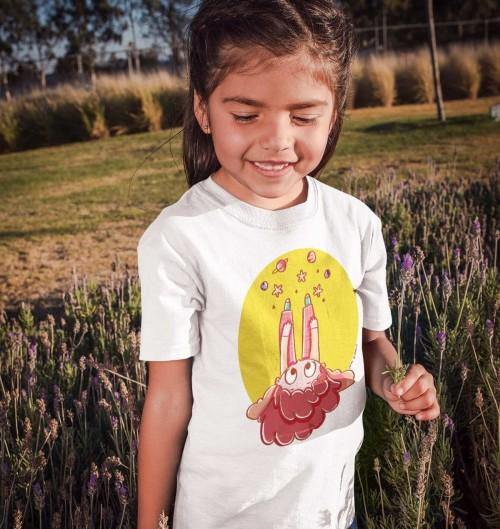 T-shirt pour Enfants Tête dans les étoiles de couleur Blanc