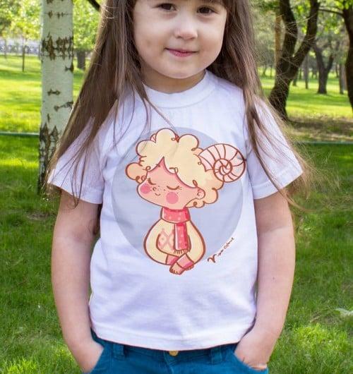 T-shirt pour Enfants Signe bélier de couleur Blanc