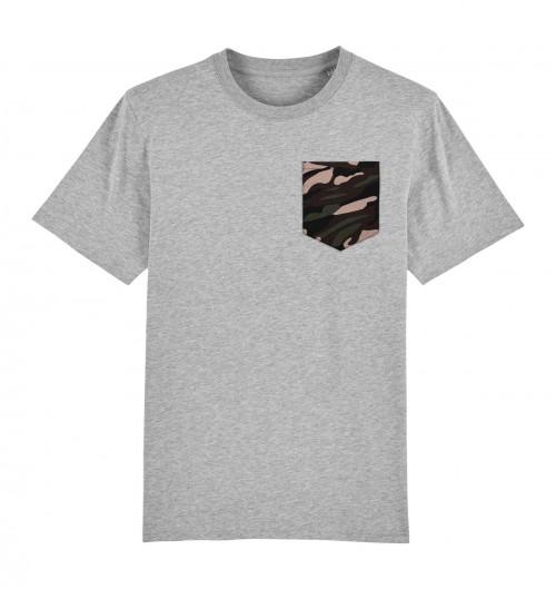Tee-shirt pour Homme à Poche Camo de couleur Gris chiné