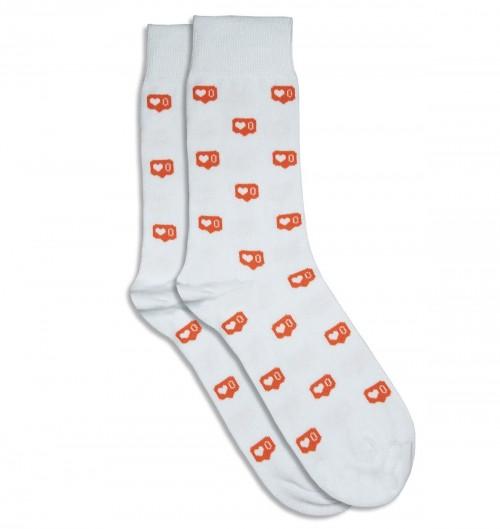 Chaussettes Lovegram pour Unisexe de couleur Blanc