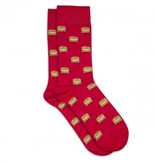 Chaussettes Hamburger pour Unisexe de couleur Rouge