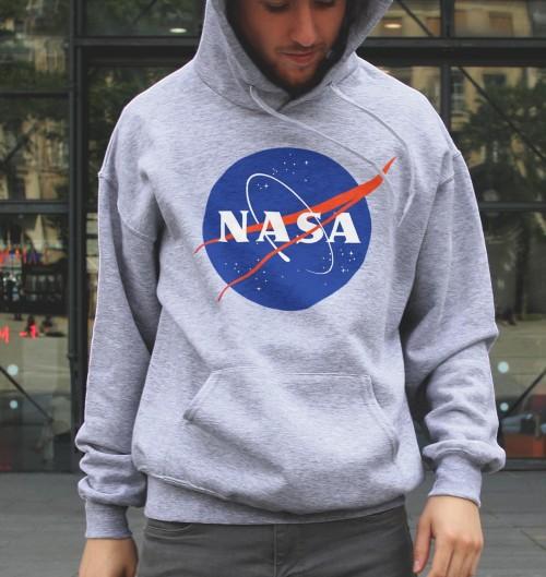 Hoodie logo NASA pour Homme de couleur Gris chiné