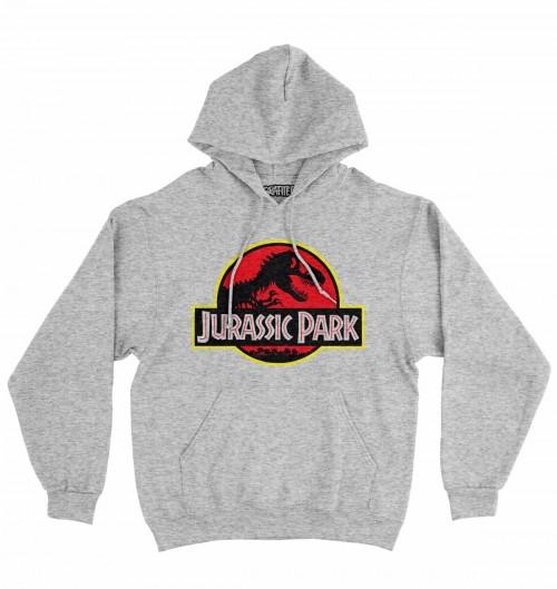 Hoodie Jurassic Park pour Homme de couleur Gris chiné