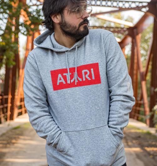 Hoodie Logo ATARI pour Homme de couleur Gris chiné