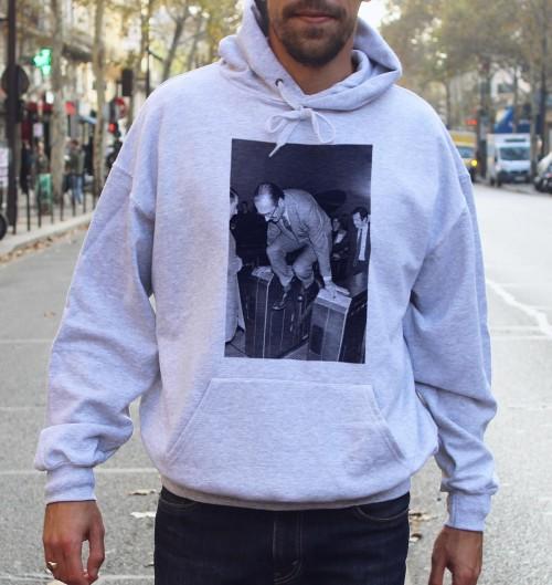 Hoodie Chirac métro pour Homme de couleur Gris chiné