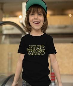 T-shirt pour Enfants Stop wars de couleur Noir
