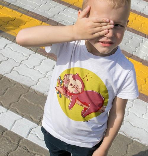 T-shirt pour Enfants Paresseux Zzz... de couleur Blanc