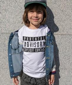 T-shirt pour Enfants Parental Advisory de couleur Blanc