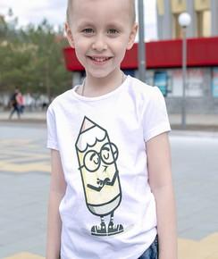 T-shirt pour Enfants Mascotte crayon de couleur Blanc