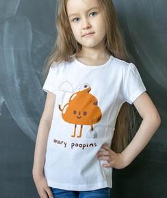 T-shirt pour Enfants Mary Poopins de couleur Blanc