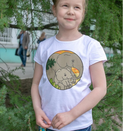 T-shirt pour Enfants Elephants (enfant) de couleur Blanc