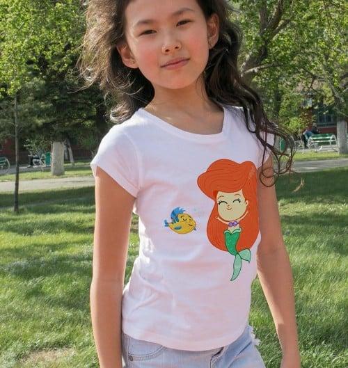 T-shirt pour Enfants La petite sirène de couleur Blanc