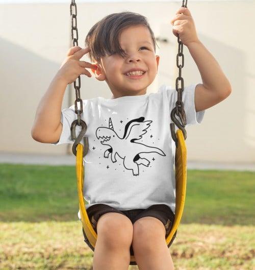 T-shirt pour Enfants Dinosaure Licorne de couleur Blanc