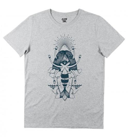 T-shirt pour Homme Mermaid Sushi (en promo) de couleur Gris chiné