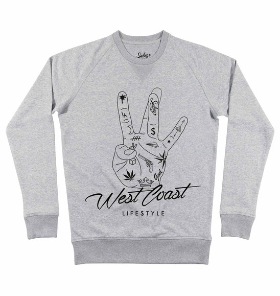 Sweat pour Homme West Coast (en promo) de couleur Gris chiné