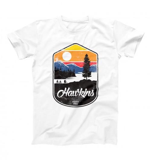 T-shirt pour Homme Hawkins Badge de couleur Blanc