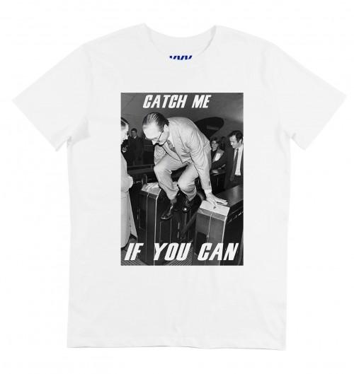 T-shirt pour Homme Chirac Catch Me (en promo) de couleur Blanc