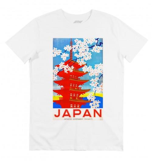 T-shirt pour Homme Pagode japonaise (en promo) de couleur Blanc