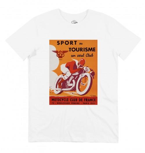 T-shirt pour Homme Motocycle Club de France (en promo) de couleur Blanc