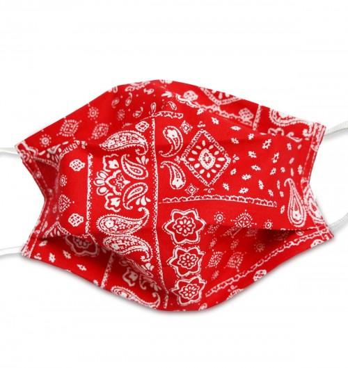 Masque Paisley Rouge - Lavable Réutilisable