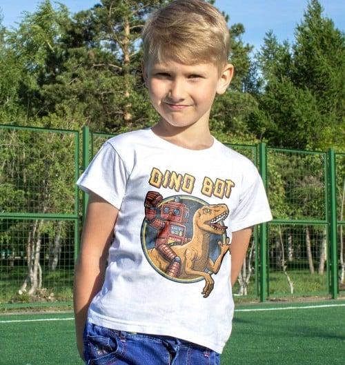 T-shirt pour Enfants Dinosaure Robot de couleur Blanc