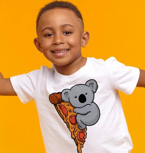T-shirt pour Enfants Pizza Koala de couleur Blanc