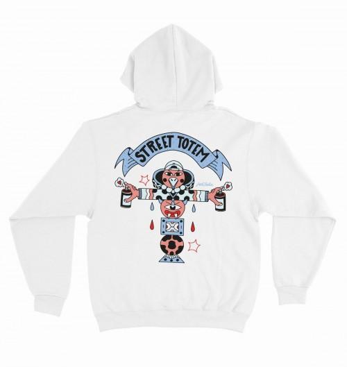 Hoodie Street totem pour Homme de couleur Blanc