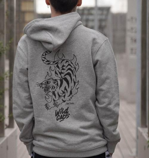 Hoodie Wild Cats pour Homme de couleur Gris chiné