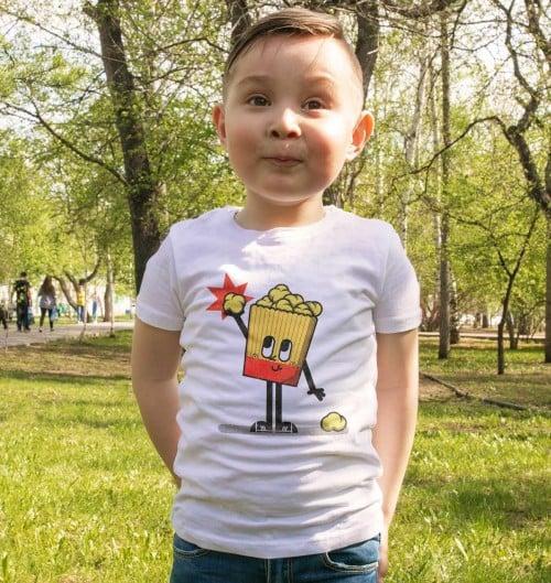 T-shirt pour Enfants Pop-corn Day (enfant) de couleur Blanc