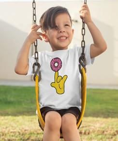 T-shirt pour Enfants Donut Spinning (enfant) de couleur Blanc
