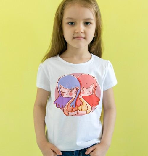 T-shirt pour Enfants Signe Gémeaux de couleur Blanc
