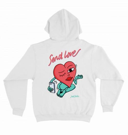 Hoodie Send Love pour Homme de couleur Blanc