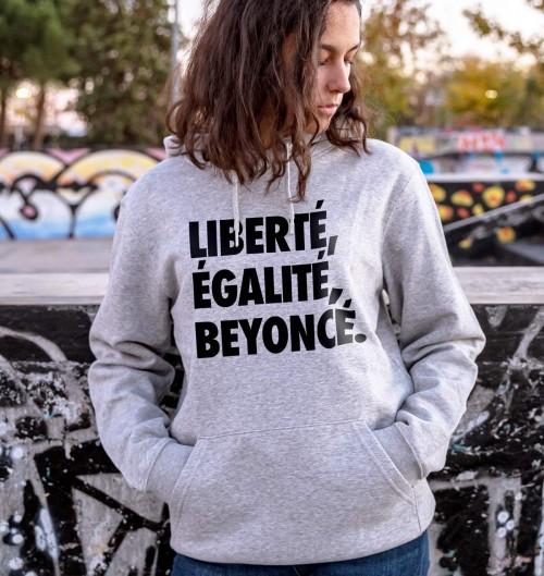 Hoodie Liberté, Égalité, Beyoncé de couleur Gris chiné