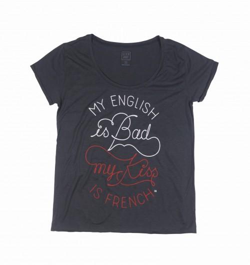 Tee Shirt pour Femme Femme French Kiss de couleur Noir