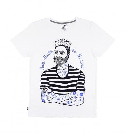 T-shirt pour Homme Sailor Jeffrey de couleur Blanc