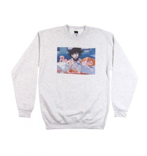 Sweatshirt pour Homme Porno Chic de couleur Gris chiné