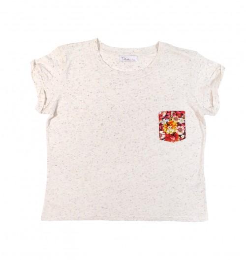 T shirt avec poche Amsterdam (Femme) pour Femme de couleur Crème