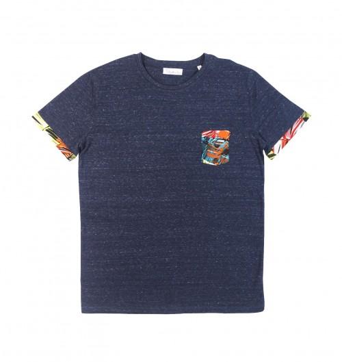 Tee-shirt pour Homme à Poche Manille de couleur Bleu
