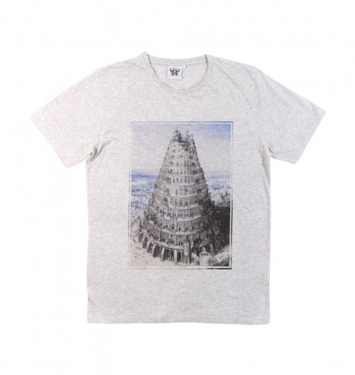 T-shirt pour Homme Babylone de couleur Gris chiné