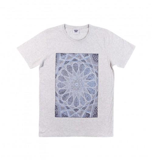 T-shirt pour Homme Mosaïque Perse de couleur Gris chiné