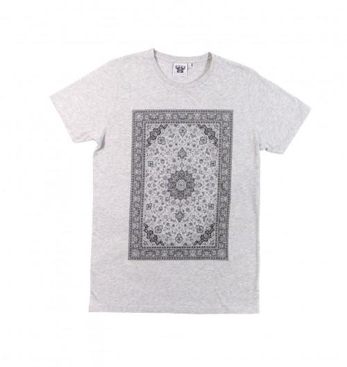 T-shirt pour Homme Tapis Persan de couleur Gris chiné