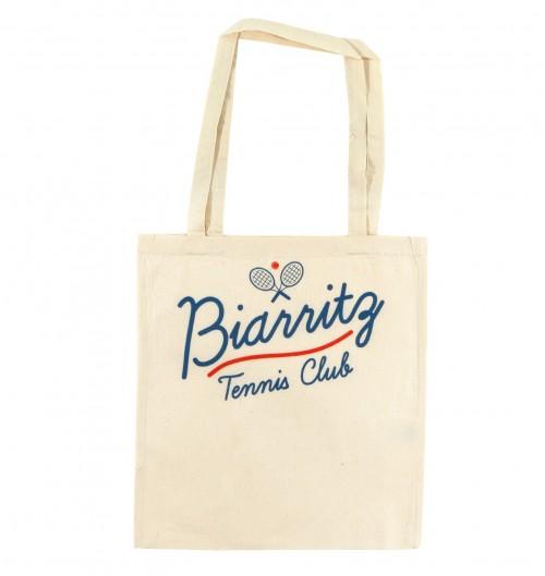 Tote Bag Biarritz Tennis Club de couleur Crème