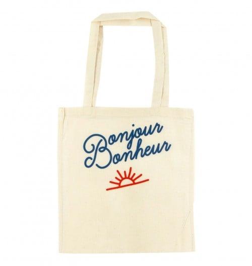 Tote Bag Bonjour Bonheur de couleur Crème