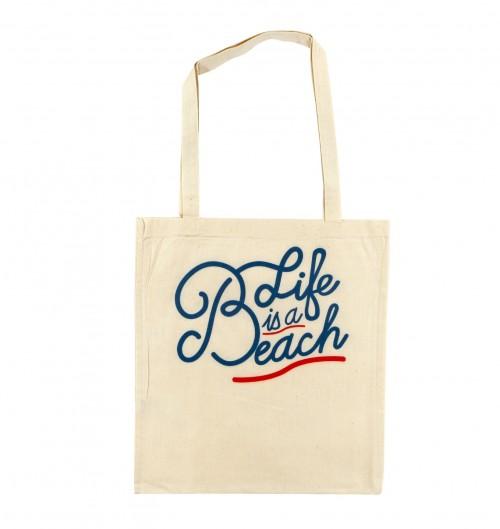 Tote Bag Life is a Beach de couleur Crème