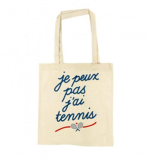 Tote Bag Je peux Pas J'ai Tennis de couleur Crème
