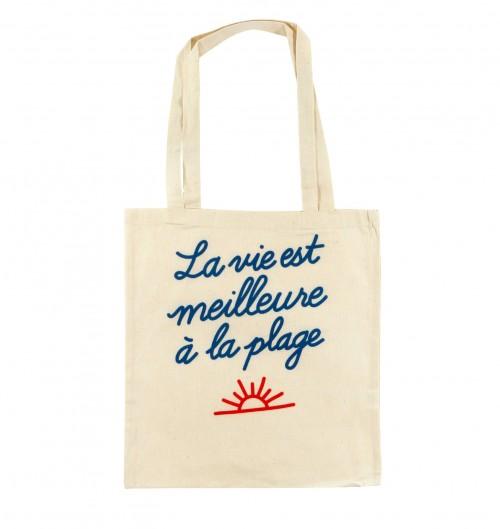Tote Bag La Vie est Meilleure à la Plage de couleur Crème