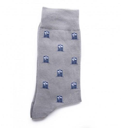 Chaussettes Tardis Dr Who pour Unisexe de couleur Gris chiné