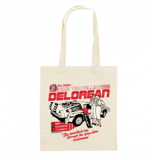 Tote Bag Delorean de couleur Crème